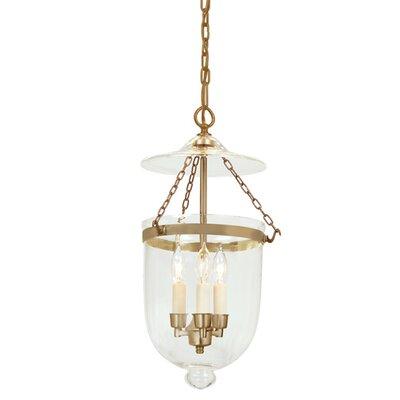 3-Light Medium Bell Jar Foyer Pendant Finish: Rubbed brass