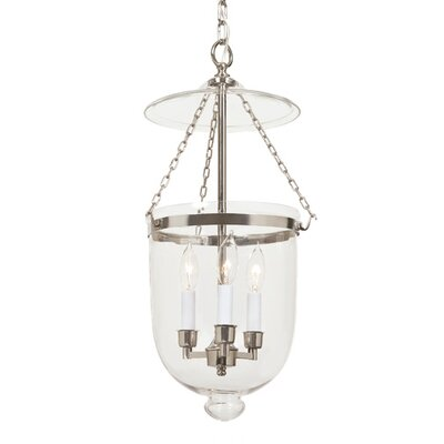 3-Light Medium Bell Jar Foyer Pendant Finish: Polished Nickel