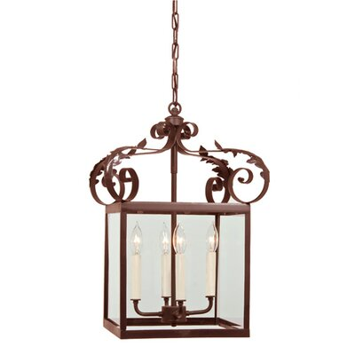 4-Light Large Scroll Foyer Pendant Finish: Rust