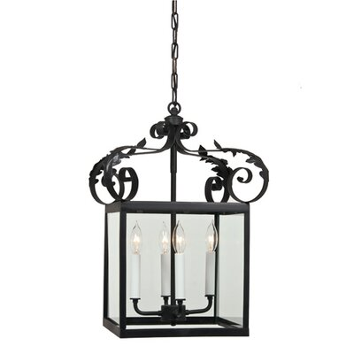 4-Light Large Scroll Foyer Pendant Finish: Matte black