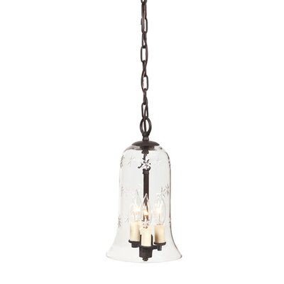 3-Light Small Elongated Bell Jar Pendant with Star Glass Finish: Oil Rubbed Bronze