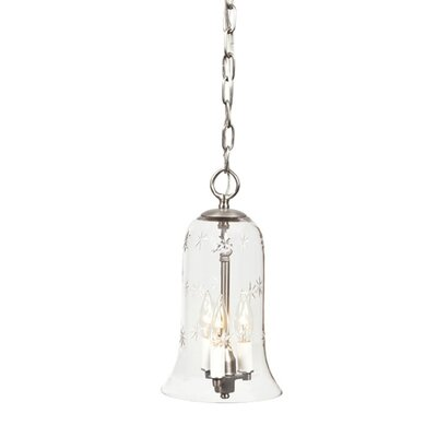 3-Light Small Elongated Bell Jar Pendant with Star Glass Finish: Pewter