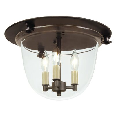 3-Light Bell Flush Mount Finish: Polished Nickel