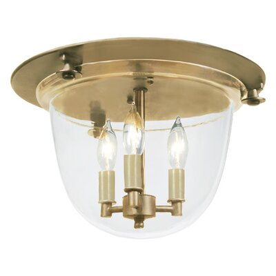3-Light Bell Flush Mount Finish: Rubbed brass