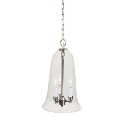 3-Light Large Elongated Bell Jar Pendant Finish: Pewter