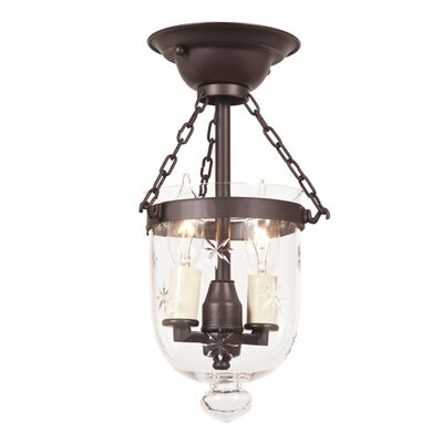 2-Light Tiny Bell Jar Semi Flush Mount Finish: Oil Rubbed Bronze