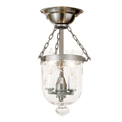 2-Light Tiny Bell Jar Semi Flush Mount Finish: Pewter