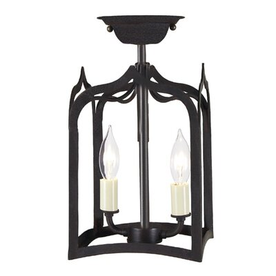 Gothic 2-Light Tiny Semi Flush Mount Finish: Matte black