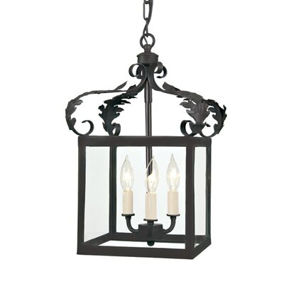 3-Light Small Scroll Foyer Pendant Finish: Matte black