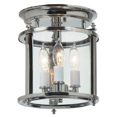 Murray Hill 3-Light Flush Mount Size: 12.5 H x 10.5 W, Finish: Rubbed Brass