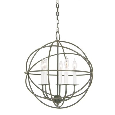 Globe 5-Light Globe Pendant Finish: Aged Silver