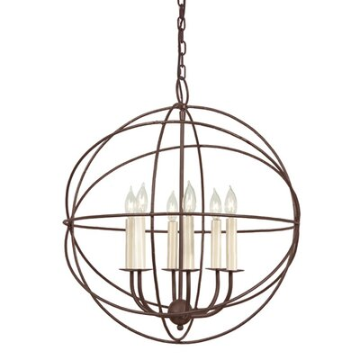 Globe 6-Light Globe Pendant Finish: Rust