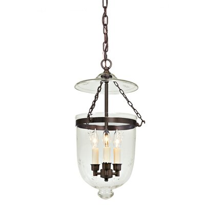 3-Light Medium Bell Jar Foyer Pendant with Star Glass Finish: Oil Rubbed Bronze