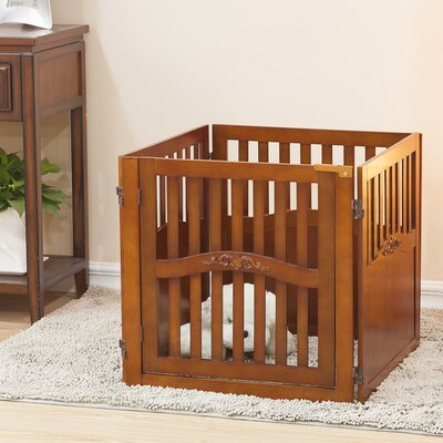 Lily 4 Panel Convertible Dog Gate with One Walk Through Panel Size: Small