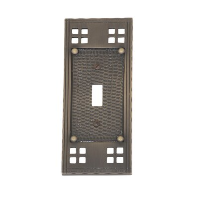 Arts and Crafts Single Switch Wall Plate (Set of 2) Finish: Antique Brass