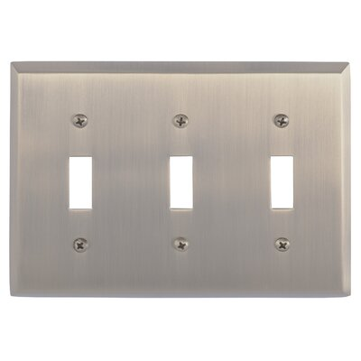 Quaker Triple Switch Plate Finish: Antique Brass