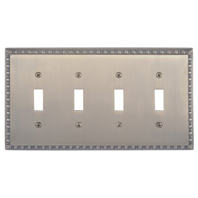 Egg and Dart Quad Switch Plate Finish: Antique Brass