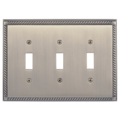 Georgian Triple Switch Plate Finish: Antique Brass