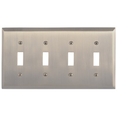 Quaker Quad Switch Plate Finish: Antique Brass