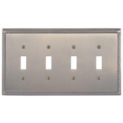 Georgian Quad Switch Plate Finish: Antique Brass