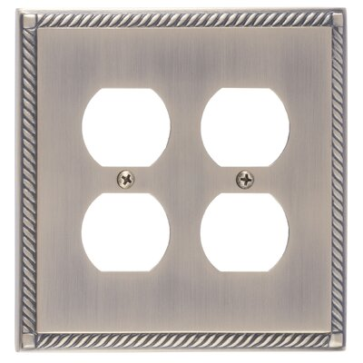 Georgian Double Outlet Plate Finish: Antique Brass