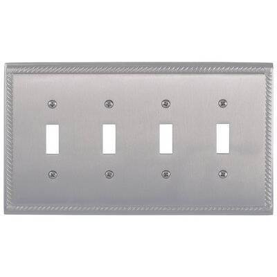 Georgian Quad Switch Plate Finish: Satin Nickel