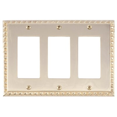 Egg and Dart Triple GFCI Light Switch or Socket Plate Finish: Polished Brass