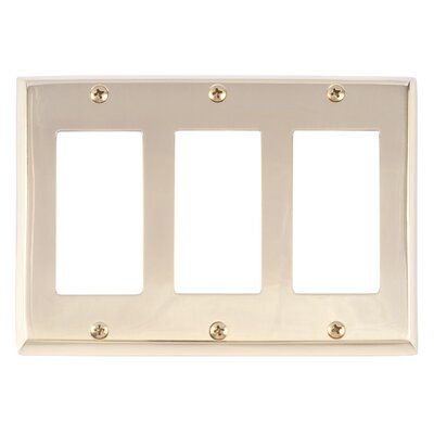 Quaker Triple GFCI Plate Finish: Polished Brass