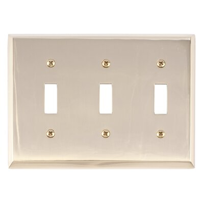 Quaker Triple Switch Plate Finish: Polished Brass