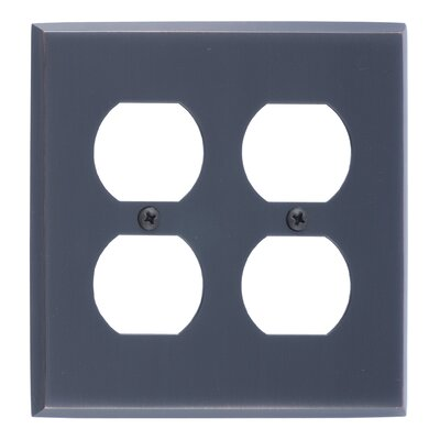 Quaker Double Outlet Plate Finish: Antique Brass