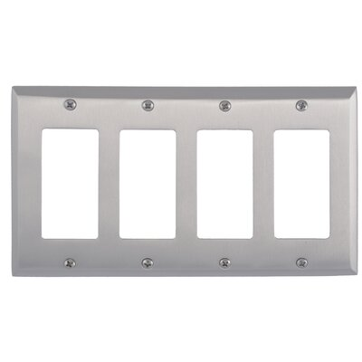 Quaker Quad GFCI Plate Finish: Satin Nickel