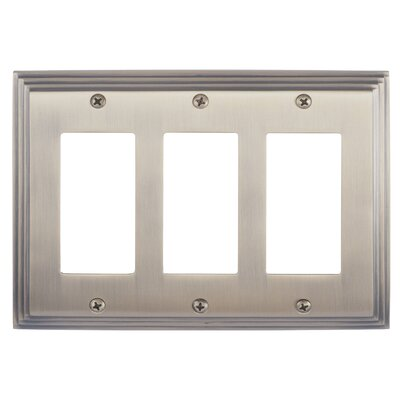 Classic Steps Triple GFCI Plate Finish: Antique Brass