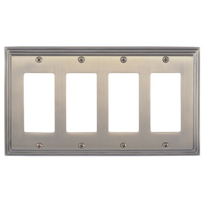 Classic Steps Quad GFCI Plate Finish: Antique Brass