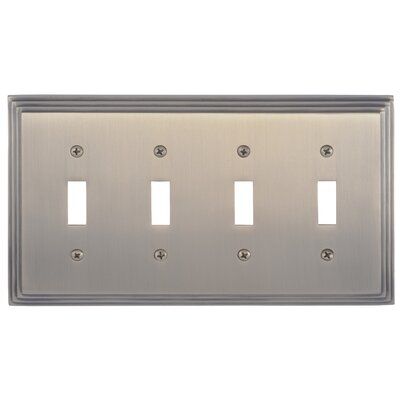Classic Steps Quad Switch Plate Finish: Antique Brass