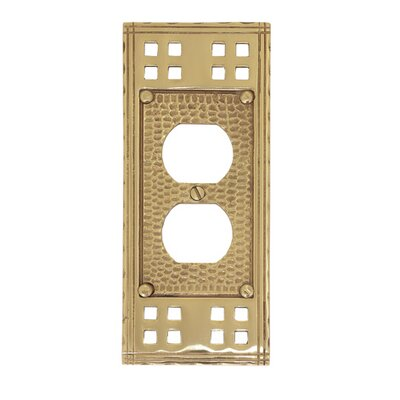 Arts and Crafts Single Outlet Wall Plate (Set of 2) Finish: Polished Brass