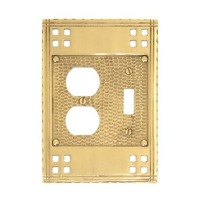 Arts and Crafts Double Combo Wall Plate (Set of 2) Finish: Polished Brass