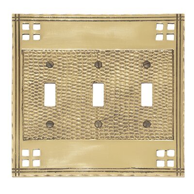 Arts and Crafts Triple Switch Wall Plate (Set of 2) Finish: Satin nickel