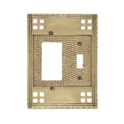 Arts and Crafts Double Combo Wall Plate (Set of 2) Finish: Antique Brass