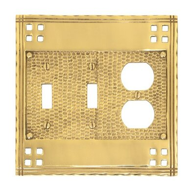 Arts and Crafts Triple Combo Wall Plate (Set of 2) Finish: Polished Brass