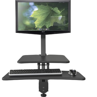 Up-Rite Desk with Mounted Sit/Stand Height Adjustable Workstation/Cart