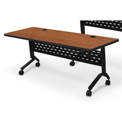 Nido Flipper Height Adjustable Training Table with Wheels Size: 60 W, Tabletop Finish: Amber Cherry