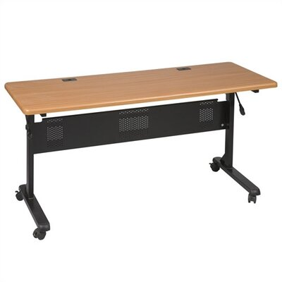 Flipper Training Table with Wheels Tabletop Finish: Teak, Size: 29.5 H x 60 W x 24 D