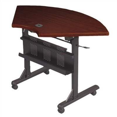 46 W Flipper Training Table with Wheels Tabletop Finish: Mahogany