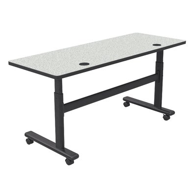 Height Adjustable Training Table with Wheels Tabletop Finish: Gray Nebula / Black, Size: 60 W x 24 D