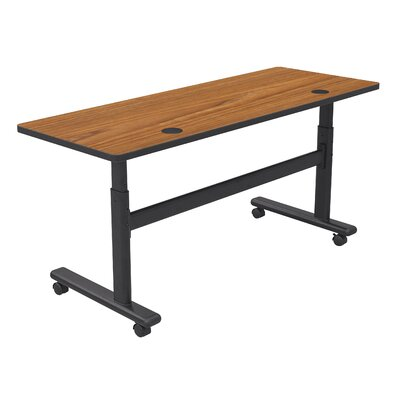 Height Adjustable Training Table with Wheels Tabletop Finish: Nepal Teak / Black, Size: 60 W x 24 D