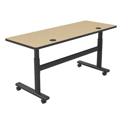 Height Adjustable Training Table with Wheels Size: 60 W x 24 D, Tabletop Finish: Fusion Maple / Black