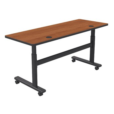 Height Adjustable Training Table with Wheels Tabletop Finish: Amber Cherry / Black, Size: 72 W x 24 D