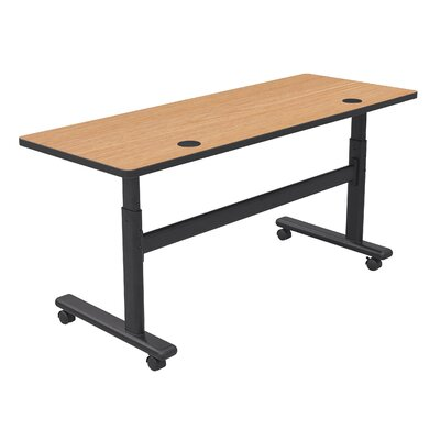 Height Adjustable Training Table with Wheels Tabletop Finish: Castle Oak / Black, Size: 72 W x 24 D