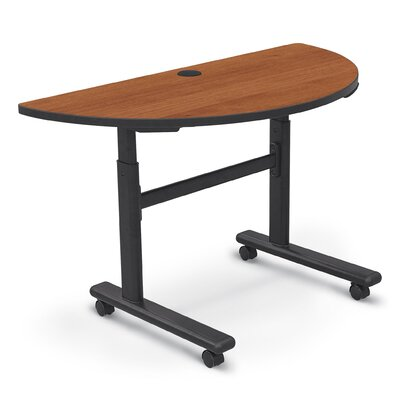 48 W Height Adjustable Training Table with Wheels Tabletop Finish: Amber Cherry