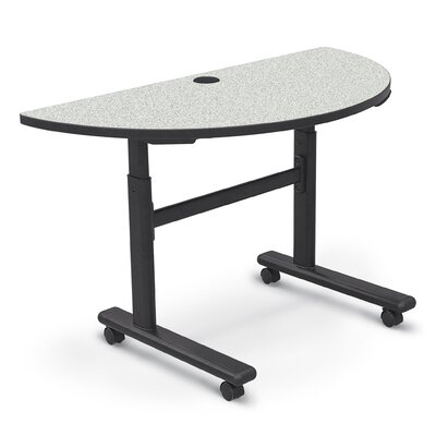 48 W Height Adjustable Training Table with Wheels Tabletop Finish: Gray Nebula / Black
